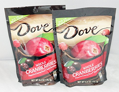 Dove Whole Dried Cranberries Dipped in Creamy Dove Dark Chocolate: 2 Bags of 6 Oz Size