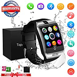 Smart Watch,Bluetooth Smart Watch Touchscreen With Camera,Waterproof Touch Screen Cell Phone Smartwatch Sport with SIM Card Slot for Android Samsung IOS iPhone 8 X Men Women (Watch-Q18-silver)