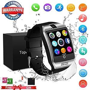 Montre Connectée, Bluetooth Smart Watch Écran Tactile Hommes Montres avec Caméra Smartwatch Résistant à L'eau Sport Fitness Tracker Soutien iOS iPhone Android Samsung LG pour Femmes Enfants