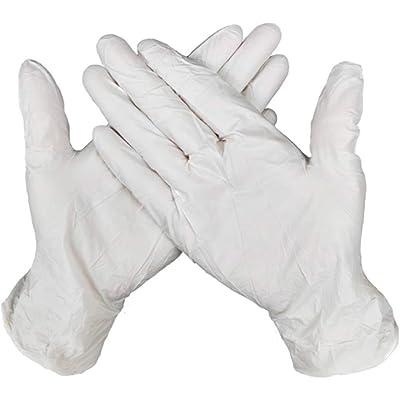 Guantes Desechable Nitrilo sin polvo, en Small, Medium, Large Caja 100 Unidades (L, Blanco )
