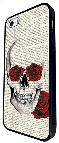 572 - Sugar Skull Vintage News Roses Design iphone SE - 2016 Coque Fashion Trend Case Coque Protection Cover plastique et métal - Noir