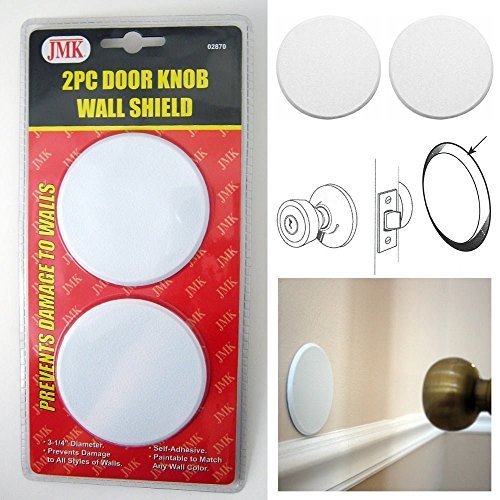 Door Hole Cover (2Pc Door Knob Wall Shield Round White Self Adhesive Protector Prevents Holes New)
