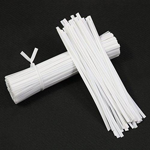 "FYZ Brothers Plastic White Twist Ties, 5"",1000 Pcs"