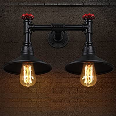 BAYCHEER HL371195 Industrial Vintage Retro style Steel Pipe Double Metal Water Pipe Wall Sconce Wall Light Lamp 2 light