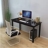 Office Computer Desk 45, Modern Style Steel Frame Wooden Table - Computer Desk Study PC Laptop Writing Table Easy to Install Stationary Workstation Home & Office (45.2x 23.6x29.1)-Black