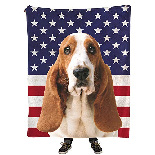 Natural Enjoy Best Dog Mom Gifts, Dog Themed Throw Blankets Design Basset Hound Dog on American Flag Printing, 50
