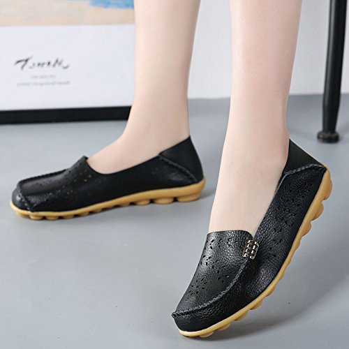 SCIEU Women's Hollow Out Leather Loafers Casual Moccasin Slip-on Driving Flat Shoes Black vaXQVZ