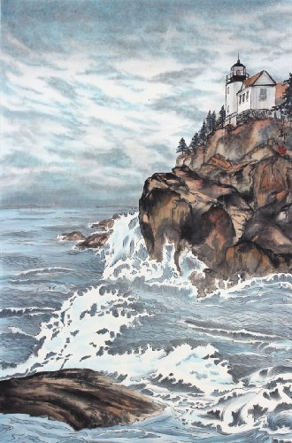 Stormy Day, Bass Harbor Light, Asian Sumi-e Landscape Painting, Giclée Print, 14 X 21 Inches