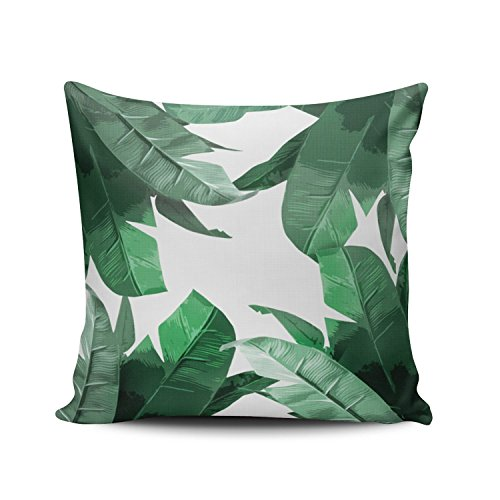 SALLEING Custom Fashion Home Decor Pillowcase Green Vintage Tropical Palm Leaves Pattern Euro Square Throw Pillow Cover Cushion Case 26x26 Inches One Sided ()