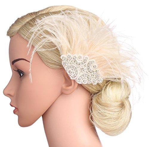 BABEYOND Bridal Wedding Fascinator Mesh Feather Fascinator Hair Clip Hair Fascinator Veil Crystal Wedding Veil (Pink) by BABEYOND (Image #2)