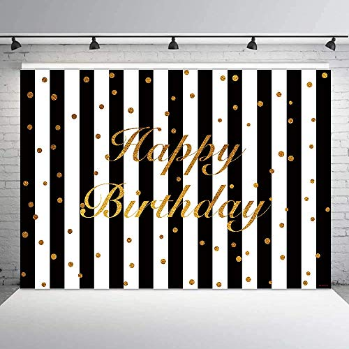 Allenjoy 7x5ft White Black Stripe Happy Birthday Party Decoration Photography Backdrop Studio Props Glitter Gold Golden Custumized Background Photo Booth -