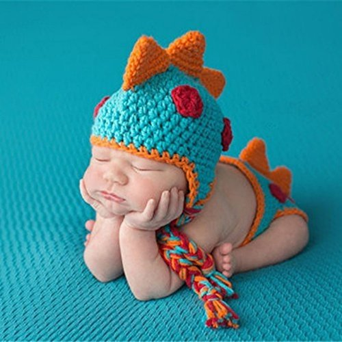 Crocheted Baby Boy Dinosaur Outfit Newborn Photography Props Handmade Knitted Photo Prop Infant Accessories (1-12 Months)