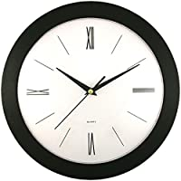 SSS6437 - TIMEKEEPER 6437 12 Round Roman Black Wall Clock