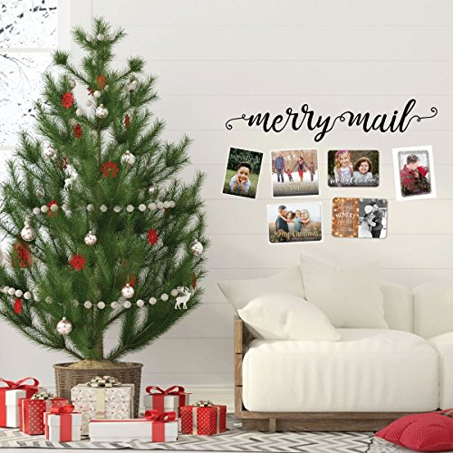 Christmas Wall Decal - Merry Mail - Holiday Vinyl Stickers for Living Room, Family Room Decor or Home ()