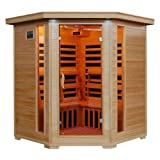 Hanko 4 Person Pre-Built Corner FAR Infrared Sauna - High Quality Hemlock Construction for a Luxurious Spa Experience - 10 Premium Infra-Wave Carbon Composite Heaters - Built In MP3/AUX/CD/FM Stereo with Speakers - 7 Color Therapy Light - Backrests, Robe