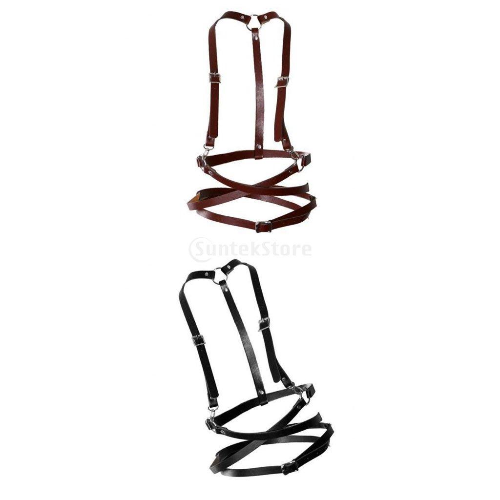 2 Stk Damen Mode Körper Schmuck Gürtelgeschirr aus Leder Strumpfhalter
