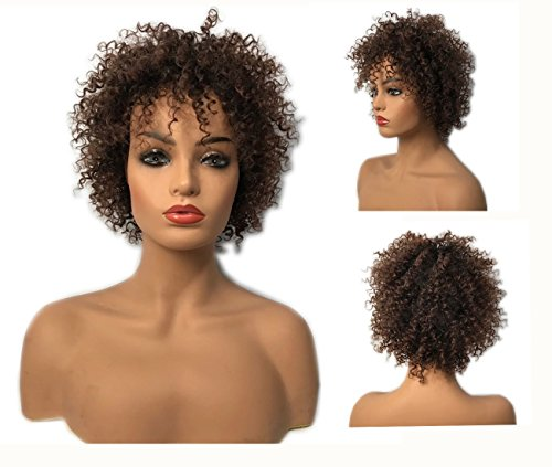 Search : Afro Kinky Curly Hair Wig for Black Women Charming Sexy African Americans Short Curly Wigs Brown Super Soft Natural Curly wigs Color 2T33