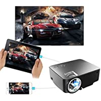 "Video projector , JIFAR 2017 Synchronize Smart phone Screen mini Projector, 170"" 1500 Lumens Portable Multimedia HD 1080P LED Projector for iPhone iPad Android Phone Black"