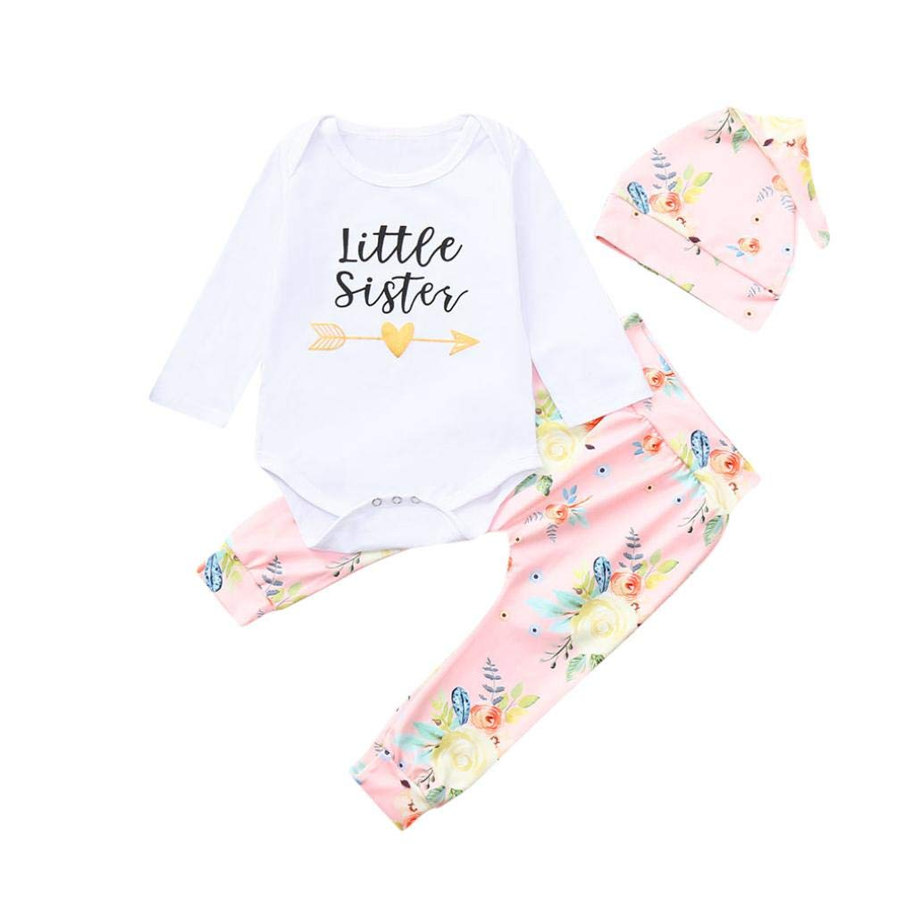 Hat Cotton Outfits Clothing Sets KaiCran 3Pcs Little Sister Baby Girls Long Sleeve Romper Tops Floral Pants