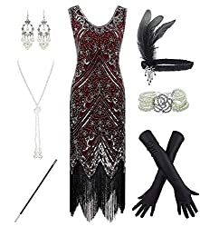 Red & Silver 1920s Fringe Beaded Dress with Costume Set