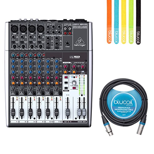 Balanced Audio Mixer - Behringer XENYX 1204USB Premium 12 Input 2/2 Bus Mixer -INCLUDES- Blucoil Audio 10' Balanced XLR Cable AND 5 Pack of Cable Ties