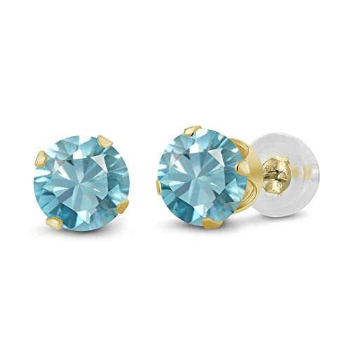 5e5d07f08 Image Unavailable. Image not available for. Color: 1.00 Ct Round 4mm Blue  Zircon 14K Yellow Gold Stud Earrings