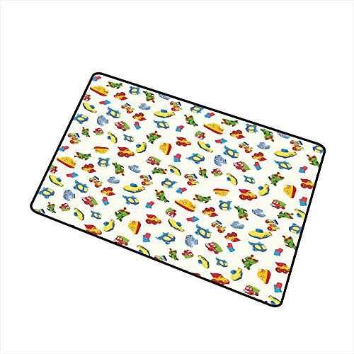 RelaxBear Kids Welcome Door mat Airplane Boat Ship Helicopter Submarine Car Truck Van Boys Cartoon Transportation Door mat is odorless and Durable W23.6 x L35.4 Inch Multicolor -