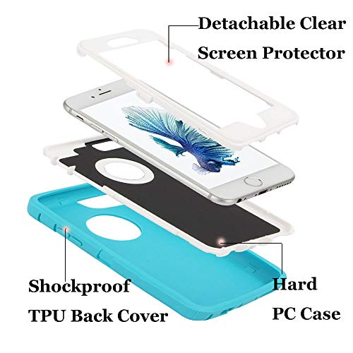 Case for iPhone 6/6s,[Heavy Duty] 3 in 1 Built-in Screen Protector Cover Dust-Proof Shockproof Drop-Proof Scratch-Resistant Shell Case for Apple iPhone 6/6s 4.7 inch,Teal&White