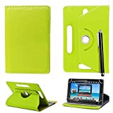 10inch Tablet Case Cover - Universal Leather Stand Case Folio Cover Magic Leather 360° Rotating Case Fits for ALL 10' Inch & 10.1' Inch Android Tablets tab + Stylus Pen (GREEN CASE COVER)