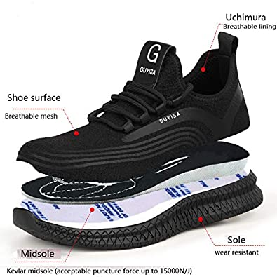 Uomo Scarpe Antinfortunistica S3 Donna Scarpe da Lavoro Scarpe Punta in Acciaio Ultraleggeri Traspiranti