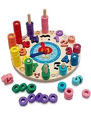 Hi!Leon® Montessori 2-in-1 speelgoed vanaf 3 jaar voor fantasiestimulerend spelen en cijfers leren, waldorp speelgoed, leerklok kinderen, houten speelgoed vanaf 3 jaar, tellen vanaf 3 jaar