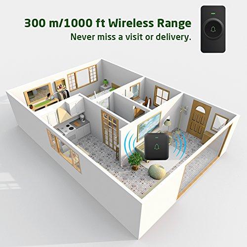 Wireless Door Bell, AVANTEK Mini Waterpoof Doorbell Chime Operating at 1000 Feet with 52 Melodies, 5 Volume Levels & LED Flash by AVANTEK (Image #4)