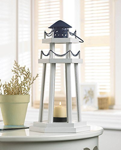 1 X Nautical Light Decorative Clear Glass Wooden Lighthouse Candle Lantern Lamp for Indoor or Outdoor Lighting and Wedding Centerpieces & Decorations by Unknown (Nautical Wedding Centerpiece)