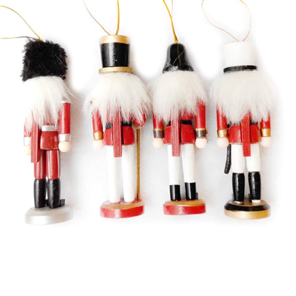 GuanjunLI Lot de 4 figurines miniatures en bois Casse-noisette Soldat Vintage artisanal Marionnettes D/écoration de la maison Nouvel An No/ël Ornements