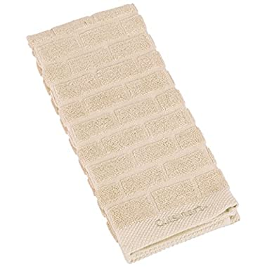 Cuisinart 100% Cotton Terry Super Absorbent Kitchen Towel, Sculpted Subway Tile, Tan/Beige