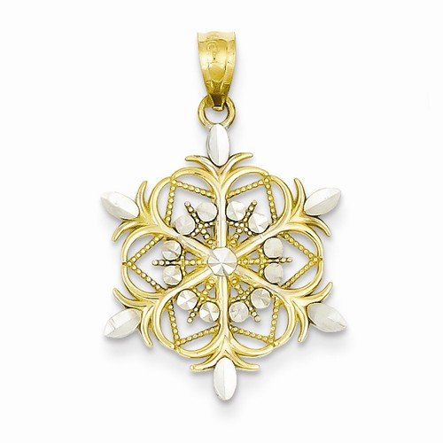 Solid 14k Yellow & White Two Tone Gold D - Diamond Cut Snowflake Pendant Shopping Results