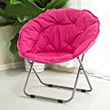 Folding chair / Round Leisure Folding Chair / Moon Chair / Home Folding Chair / Recliner /Home lazy sofa /Sun loungers /Balcony lounge chair / ( Color : Rose red )
