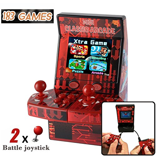 Piixy Kids Mini Classic Arcade Game, Cabinet Machine with 183 Handheld Video Games 2.8''Joystick and Buttons for Summer Camping Outdoor Boys Children Gifts Portable Gaming Electronic Novelty Travel by Piixy