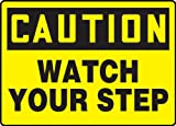 """Accuform Signs MSTF645VP Plastic Safety Sign, Legend """"CAUTION WATCH YOUR STEP"""", 7"""" Length x 10"""" Width x 0.055"""" Thickness, Black on Yellow"""
