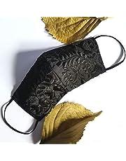 Increíble y elegante cubrebocas bordado artesanal | Tricapa | Lavables | Hechos a mano | Técnica Yucateca | Negro elegancia