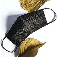 Increíble y elegante cubrebocas bordado artesanal | Tricapa | Lavables | Hechos a mano | Técnica Yucateca | Negro…