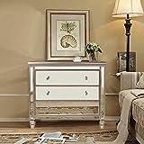 Magari Furniture GD1880 Argento Mirrored 3-Drawer Accent Chest, Medium