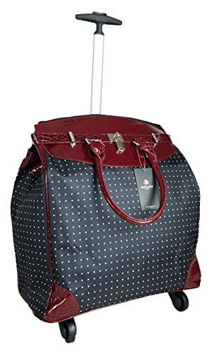 Trendy Flyer Computer/Laptop Rolling Bag 4 Wheel Case Polka Dots Red - 4 Wheel Rolling Briefcase