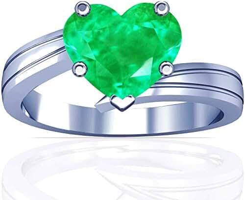 Platinum Heart Cut Emerald Solitaire Ring (GIA Certificate)
