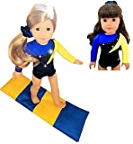 Gymnastics Outfit For American Girl Dolls - Doll Clothes and Accessories for your 18 inch Doll - Blue & Yellow Leotard w/BONUS Mat (3 Pieces)