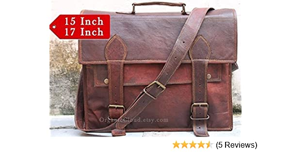 bfd82c38e2d Right Choice Men s Handmade Genuine Leather Messenger Bag Shoulder Bag  Briefcase Crossbody Office Bag Leather Satchel School Bag 17X12X5 Brown  Christmas ...