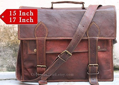 Right Choice Men's Handmade Genuine Leather Messenger Bag Shoulder Bag Briefcase Crossbody Office Bag Leather Satchel School Bag 17X12X5 Brown Christmas gifts by Right Choice