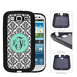 Black And White Damask With Teal Monogram (Custom Initials) Rubber Silicone TPU Cell Phone Case Samsung Galaxy S3 SIII I9300