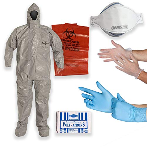 DuPont Multipurpose Cleanup Kit: 2XL Tychem F Coverall Suit, Shoe Covers, 3M 9210 N95 Respirator Mask, Polyethylene Apron, 2 Pair of Protective Gloves, Biohazard Disposal -