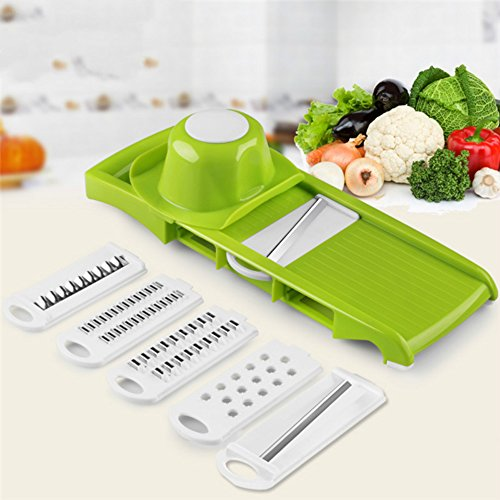 SUMCOO Kitchen Tools Set,Food And Vegetables Mandoline Slicer With Blades For Fruit And Cheese Cutter, Carrot Grater, Onion Chopper, Julienne Peeler with Safety Hat (6 in 1Green) (Grater Chopper compare prices)